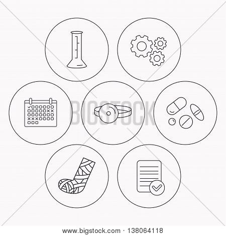Gypsum, lab beaker and medical pills icons. Medical mirror linear sign. Check file, calendar and cogwheel icons. Vector