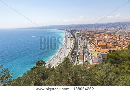 Beautiful View Of Beach In City Of Nice, Cote D'azure, France
