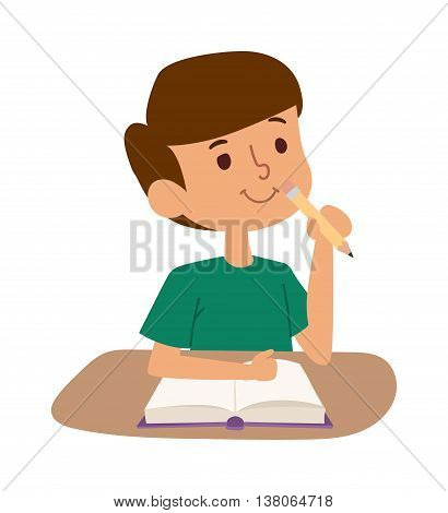 School kid boy on desk with book in classroom. School kid person study cute classroom. School kids desk. School kid education elementary school learning, back to school concept
