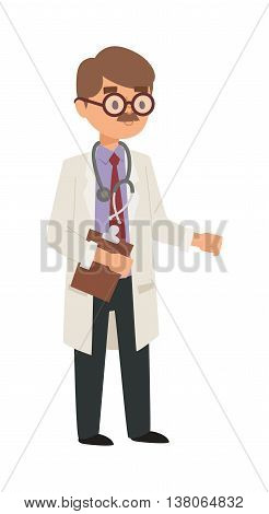 Doctor cartoon vector illustration. Doctor man with medical documents, health specialist. Doctor silhouette professional hospital people. Man surgeon practitioner coat