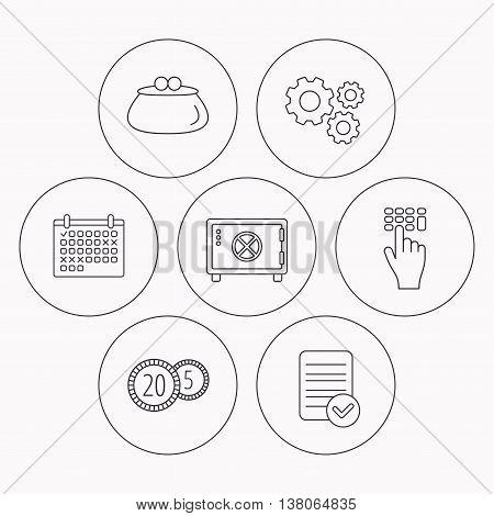 Cash money, safe box and wallet icons. Coins, enter code linear sign. Check file, calendar and cogwheel icons. Vector