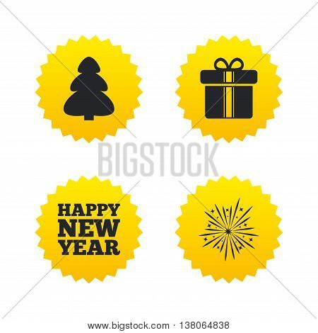 Happy new year icon. Christmas tree and gift box signs. Fireworks explosive symbol. Yellow stars labels with flat icons. Vector