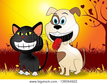 Dog With Cat Represents Dogs Picturesque And Pet