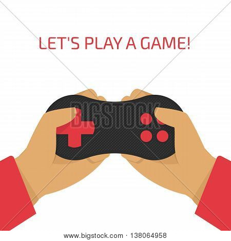 Vector illustration of a game joystick in their hands. Gamer holding a gamepad.