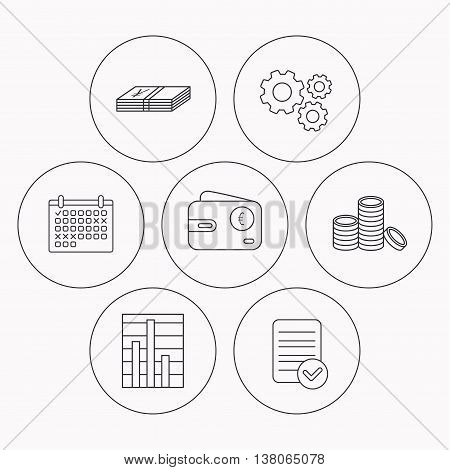 Euro wallet, cash money and chart icons. Coins linear sign. Check file, calendar and cogwheel icons. Vector