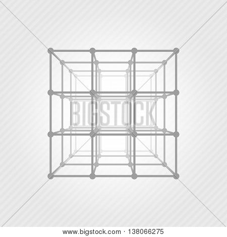 Wireframe 3D mesh polygonal vector cube. Network line, design cube, dot and structure illustration.