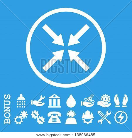 Center Arrows vector icon. Image style is a flat pictogram symbol inside a circle, white color, blue background. Bonus images are included.