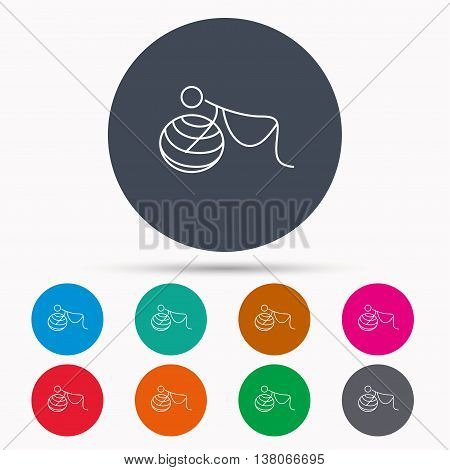 Gymnastic for pregnant icon. Pilates fitness sign. Sport workout symbol. Icons in colour circle buttons. Vector