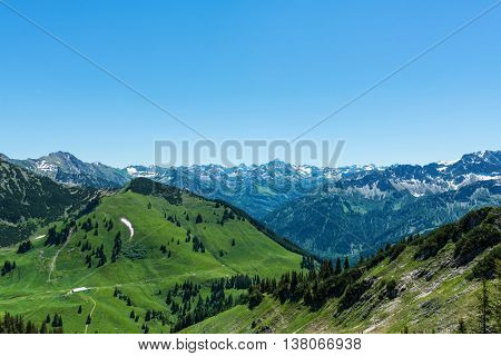 View of the Hochvogal Mountain in the Bavarian Alps, Germany