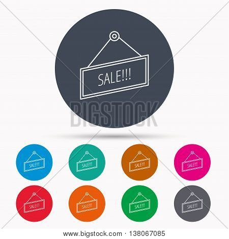 Sale icon. Advertising banner tag sign. Icons in colour circle buttons. Vector