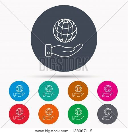 Save planet icon. Hand with globe sign. Ecology environment symbol. Icons in colour circle buttons. Vector