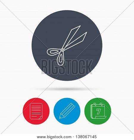 Gardening scissors icon. Secateurs tool sign symbol. Calendar, pencil or edit and document file signs. Vector