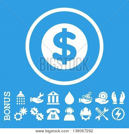 Finance vector icon. Image style is a flat pictogram symbol inside a circle, white color, blue background. Bonus images are included.