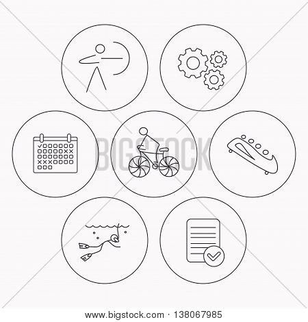 Diving, biking and archery icons. Bobsled linear sign. Check file, calendar and cogwheel icons. Vector