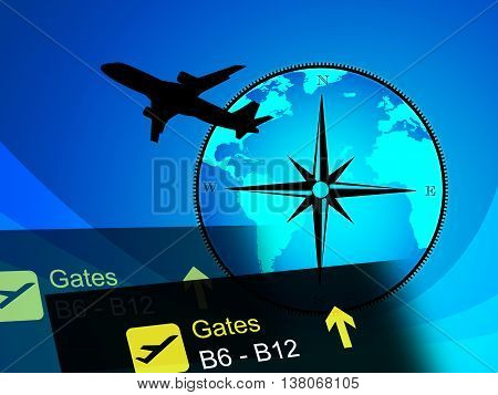World Travel Indicates Global Plane And Globalize