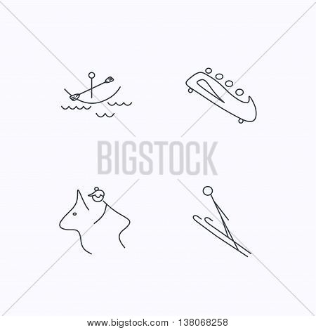 Boating, horseback riding and bobsled icons. Ski jumping linear sign. Flat linear icons on white background. Vector