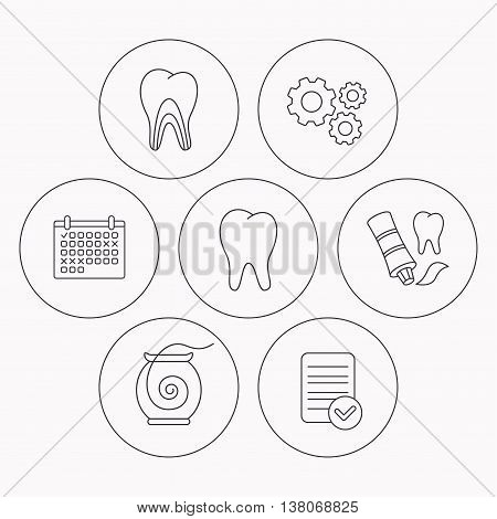 Tooth, dentinal tubules and dental floss icons. Toothpaste linear sign. Check file, calendar and cogwheel icons. Vector