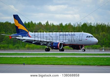 ST PETERSBURG  RUSSIA - MAY 11 2016. VP-BQK Donavia Airbus A319-111 airplane closeup view. Airplane rides on the runway after landing in Pulkovo International airport in St Petersburg Russia