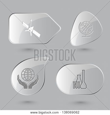 4 images: spaceship, globe, protection world, chemical test tubes. Science set. Glass buttons on gray background. Vector icons.