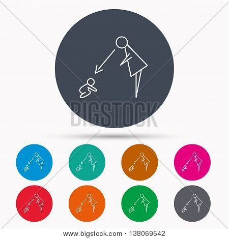 Under nanny supervision icon. Babysitting care sign. Mother watching baby symbol. Icons in colour circle buttons. Vector