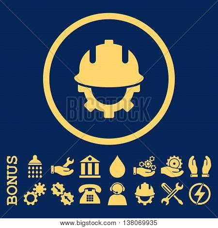 Development Helmet vector icon. Image style is a flat pictogram symbol inside a circle, yellow color, blue background. Bonus images are included.