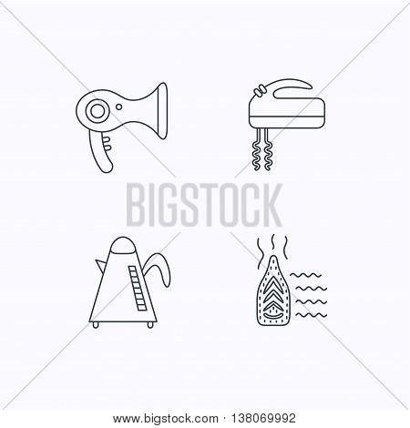 Steam ironing, kettle and blender icons. Hairdryer linear sign. Flat linear icons on white background. Vector