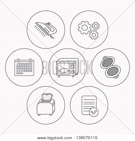 Microwave oven, waffle-iron and toaster icons. Steam ironing linear sign. Check file, calendar and cogwheel icons. Vector
