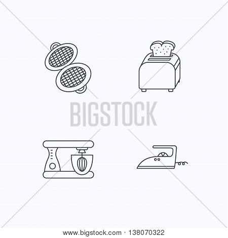 Iron, toaster and blender icons. Waffle-iron linear sign. Flat linear icons on white background. Vector