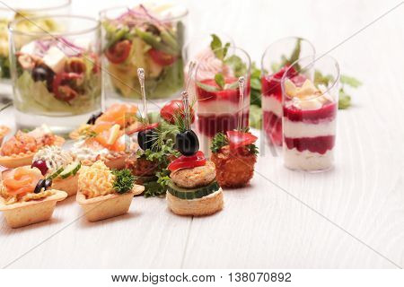 Various snacks on the table