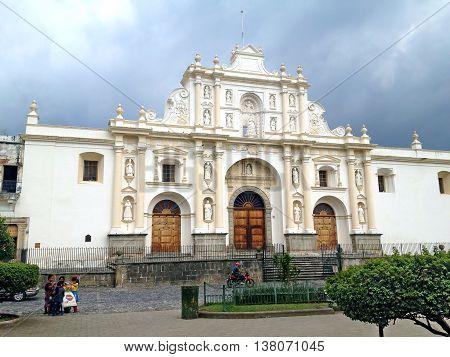 ANTIGUA GUATEMALA - SEPTEMBER 30 2015: Saint Joseph Cathedral is a Roman Catholic church in Antigua Guatemala