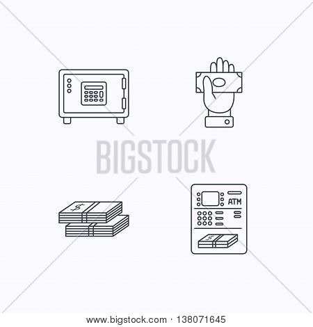 Give money, cash money and ATM icons. Safe box linear sign. Flat linear icons on white background. Vector