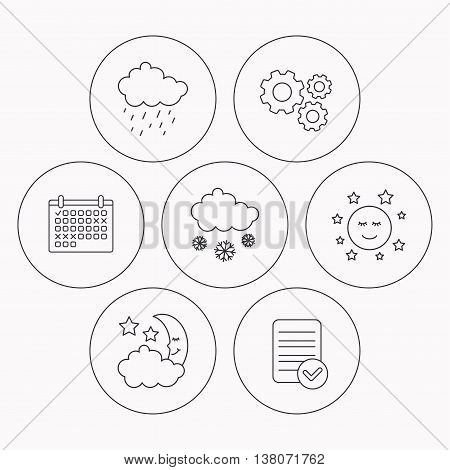 Weather, night and rain icons. Moon night and snow linear signs. Check file, calendar and cogwheel icons. Vector