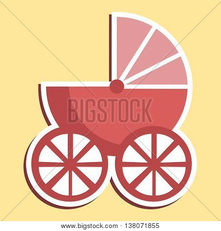 Pram Icon Indicates Parenting Buggy And Perambulator
