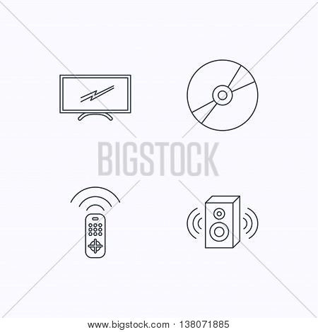 TV remote, sound and DVD disc icons. Widescreen TV linear sign. Flat linear icons on white background. Vector