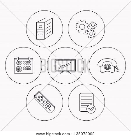 TV remote, retro phone and TV remote icons. Widescreen TV linear sign. Check file, calendar and cogwheel icons. Vector