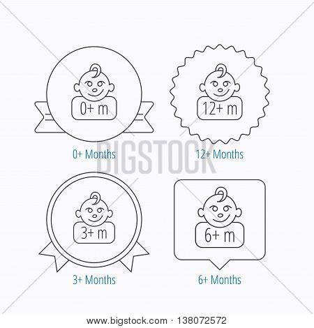 Infant child, 0 months child and toddler baby icons. 0-12 months child linear sign. Award medal, star label and speech bubble designs. Vector