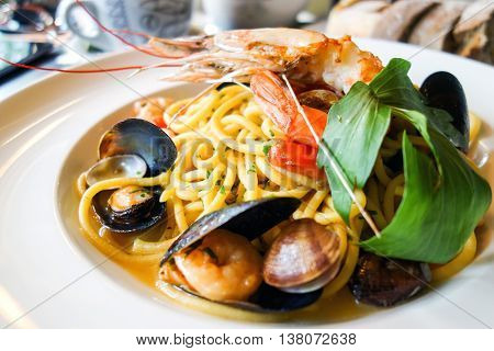 Pasta with Shrimp Dinner Dish on a the table