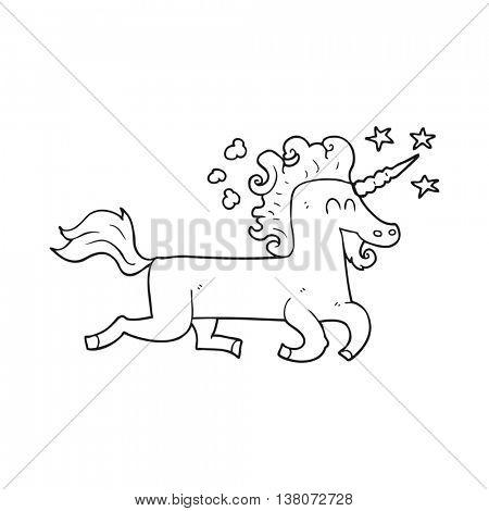 freehand drawn black and white cartoon unicorn