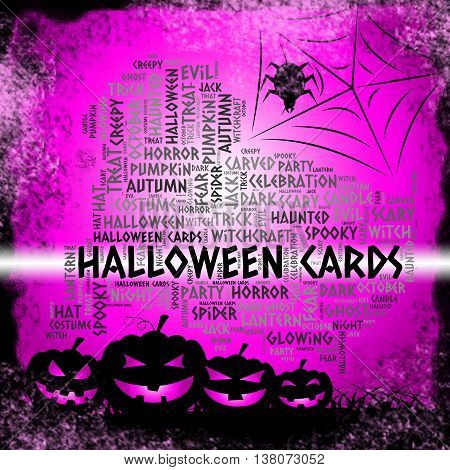 Halloween Cards Shows Trick Or Treat And Haunted