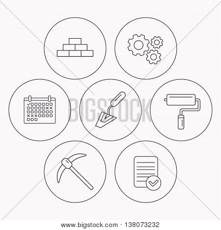 Brickwork, spatula and mining icons. Paint roller linear sign. Check file, calendar and cogwheel icons. Vector