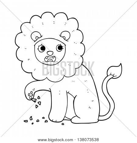 freehand drawn black and white cartoon lion with thorn in foot