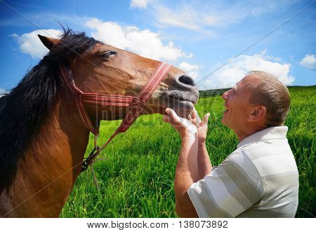 A man with his horse outdoors, friendship