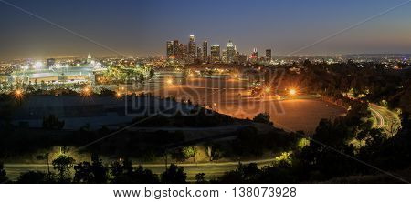 Beautiful Los Angeles Downtown Nightscape