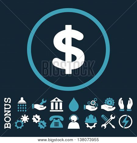 Dollar vector bicolor icon. Image style is a flat pictogram symbol inside a circle, blue and white colors, dark blue background. Bonus images are included.