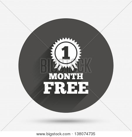 First month free medal with ribbon sign icon. Special offer symbol. Circle flat button with shadow. Vector