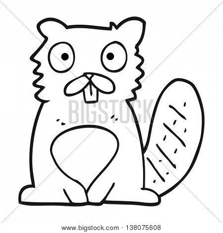 freehand drawn black and white cartoon beaver