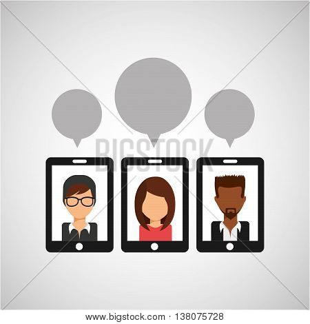 three people chating, teamwork cooperation icon, vector illustration