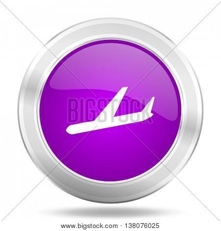 arrivals round glossy pink silver metallic icon, modern design web element