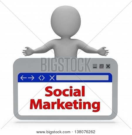 Social Marketing Webpage Represents Networking Online And Website 3D Rendering