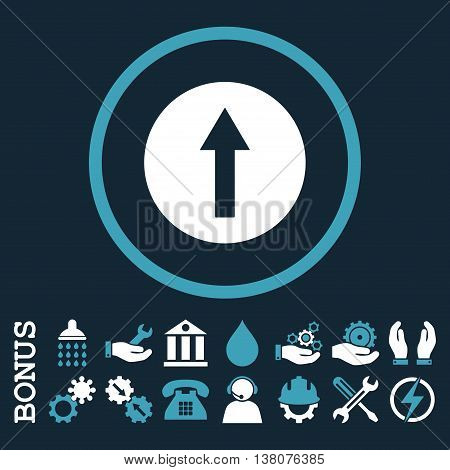 Up Rounded Arrow vector bicolor icon. Image style is a flat pictogram symbol inside a circle, blue and white colors, dark blue background. Bonus images are included.